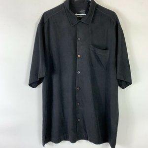 Tommy Bahama Black 100% Silk Button Shirt Men Sz L